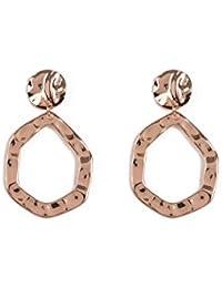 Rose Gold Tone Drop Circle Earrings