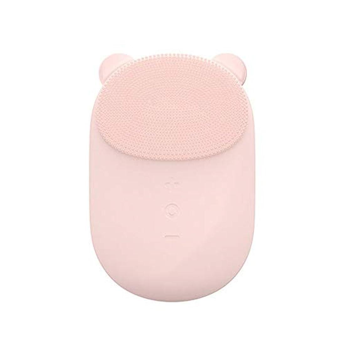 高いライトニングどんなときも洗顔ブラシ すべての肌のアンチエイジングフェイシャル剥離のためのフェイシャルクレンジングブラシフェース振動マッサージャー充電式ディープクリーニング ディープクレンジングスキンケア用 (色 : ピンク, サイズ : 10.6...
