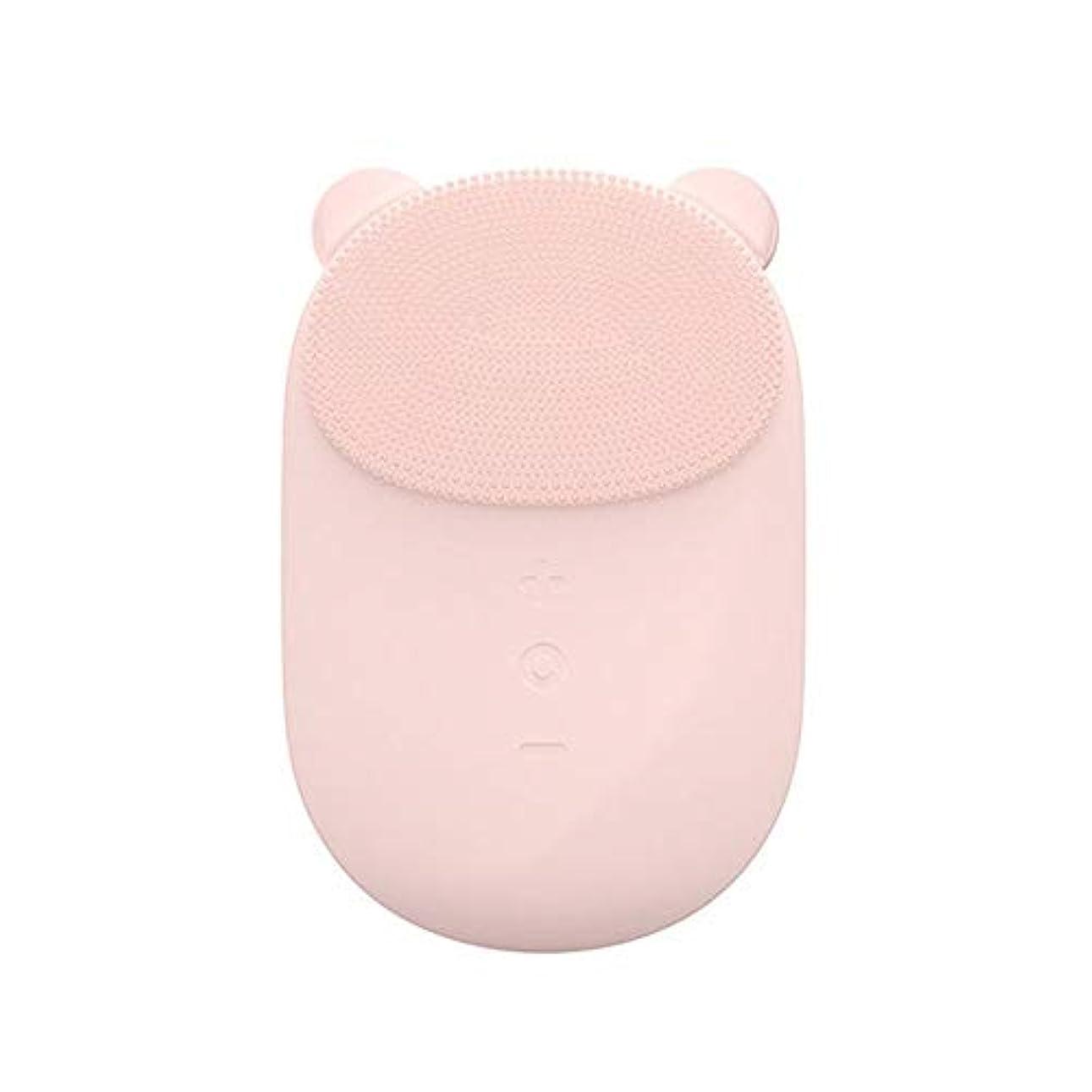 比類なき商業の集まる洗顔ブラシ すべての肌のアンチエイジングフェイシャル剥離のためのフェイシャルクレンジングブラシフェース振動マッサージャー充電式ディープクリーニング ディープクレンジングスキンケア用 (色 : ピンク, サイズ : 10.6*7.4*3cm)