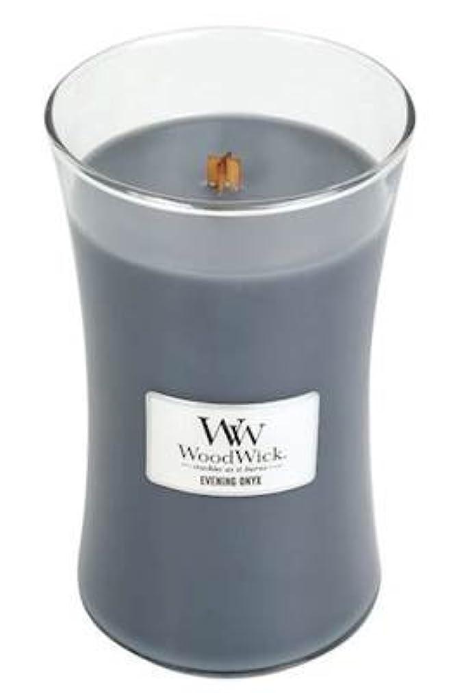 韓国語離れて計算するイブニングオニキスWoodWick 22 oz Large砂時計Jar Candle Burns 180時間