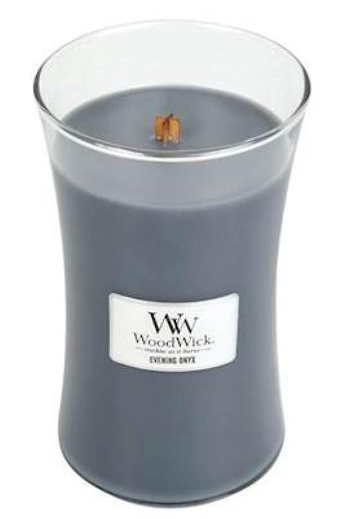イブニングオニキスWoodWick 22 oz Large砂時計Jar Candle Burns 180時間