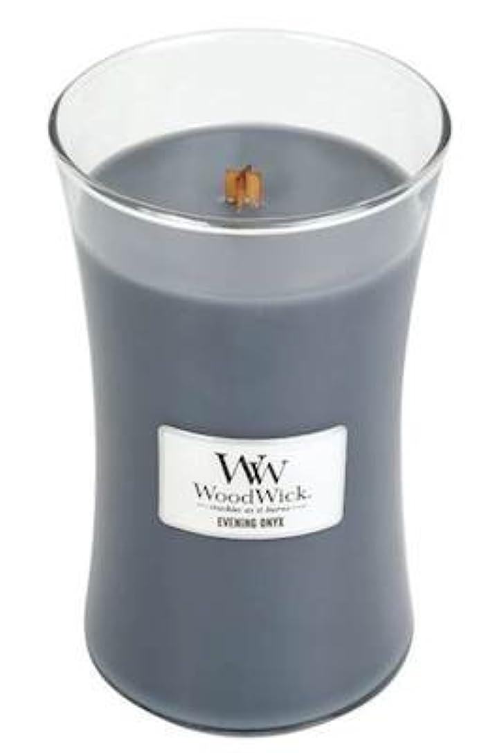 法律パイルセンターイブニングオニキスWoodWick 22 oz Large砂時計Jar Candle Burns 180時間