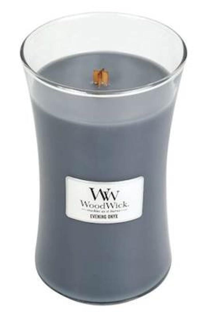 鮮やかな敵シフトイブニングオニキスWoodWick 22 oz Large砂時計Jar Candle Burns 180時間