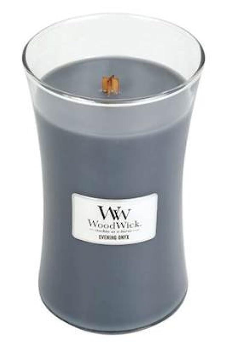 明確な閉塞九月イブニングオニキスWoodWick 22 oz Large砂時計Jar Candle Burns 180時間