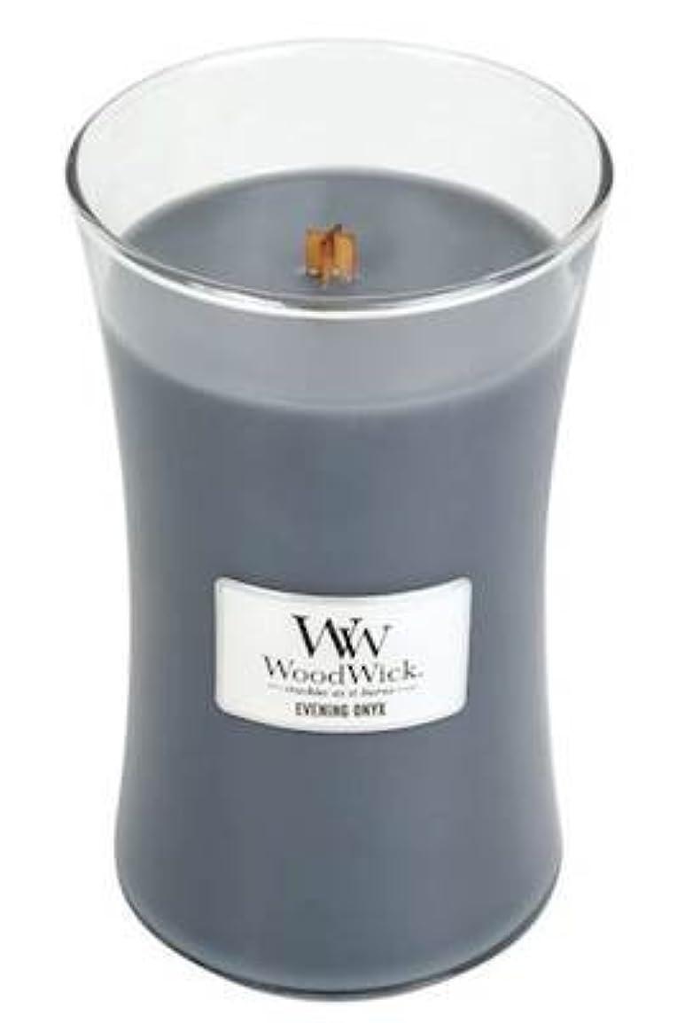 日スクリュー浸すイブニングオニキスWoodWick 22 oz Large砂時計Jar Candle Burns 180時間