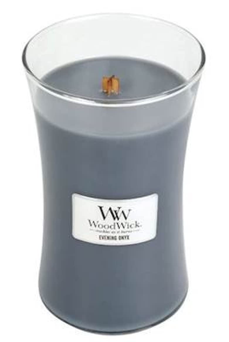 不規則な最終的に柔らかさイブニングオニキスWoodWick 22 oz Large砂時計Jar Candle Burns 180時間