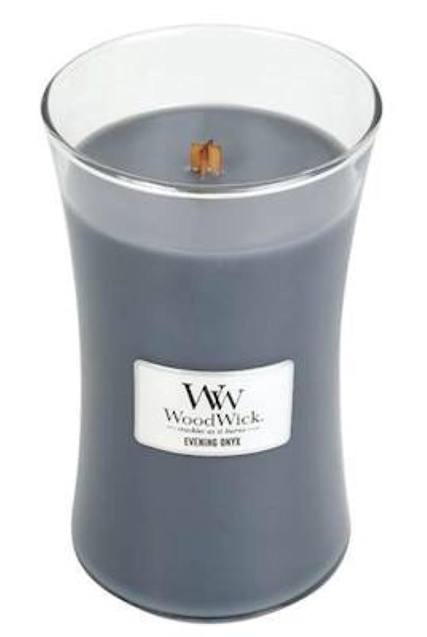 酔った硬化するカヌーイブニングオニキスWoodWick 22 oz Large砂時計Jar Candle Burns 180時間