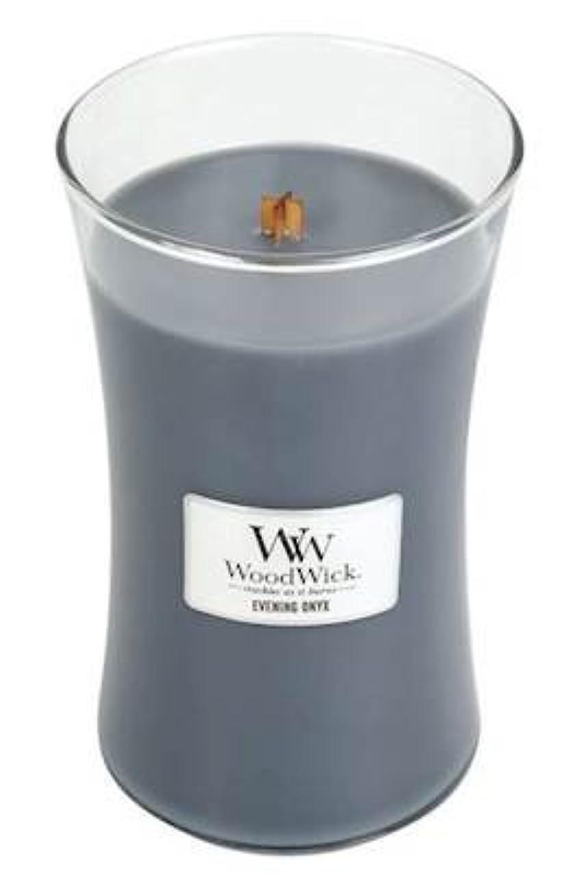 野生鈍い再生的イブニングオニキスWoodWick 22 oz Large砂時計Jar Candle Burns 180時間