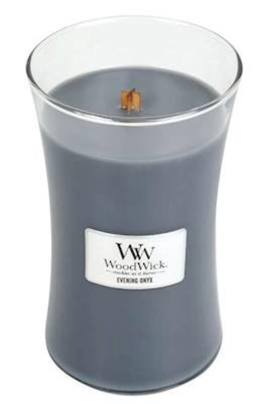 不利益お祝い入場イブニングオニキスWoodWick 22 oz Large砂時計Jar Candle Burns 180時間