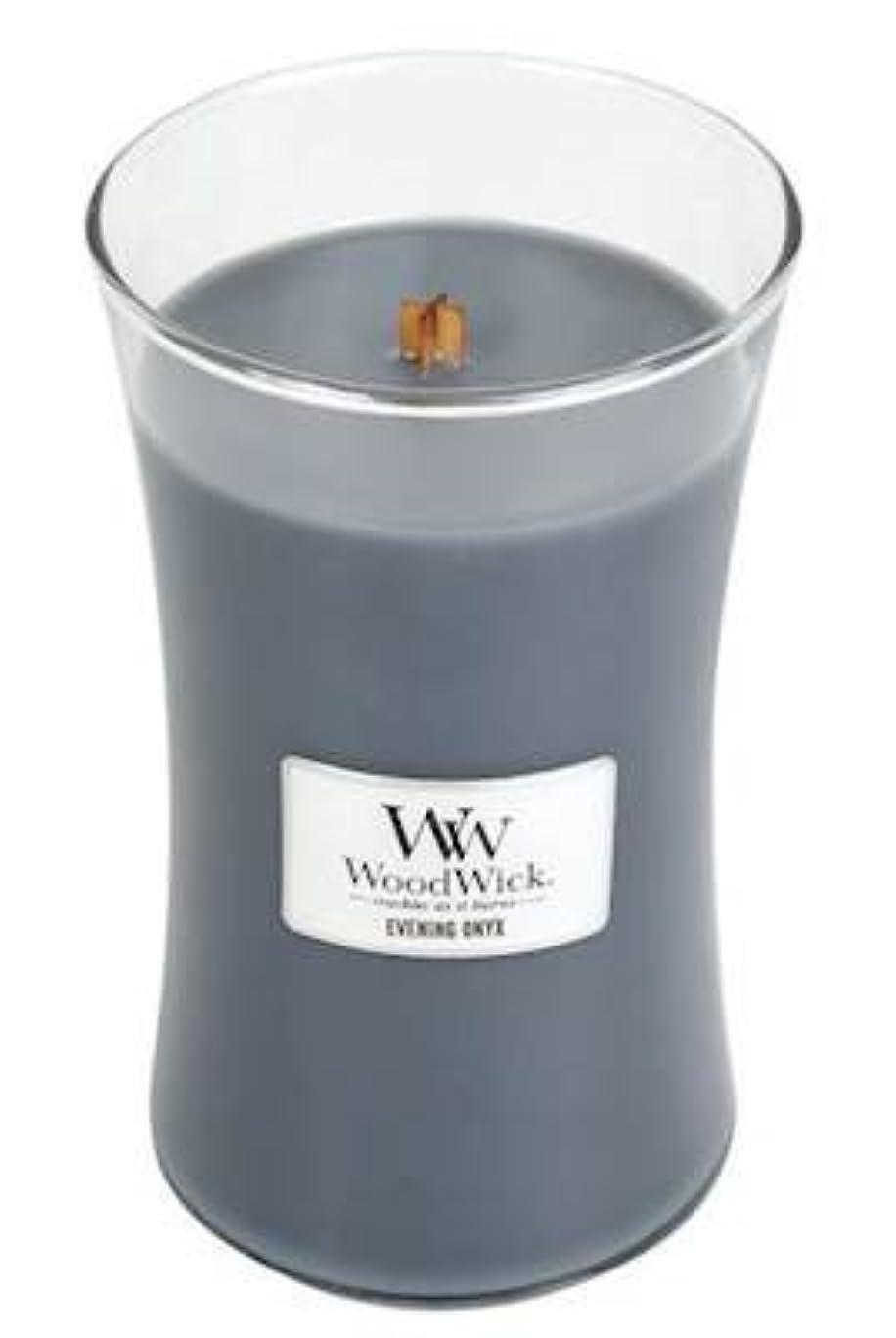 効果洞窟請求イブニングオニキスWoodWick 22 oz Large砂時計Jar Candle Burns 180時間