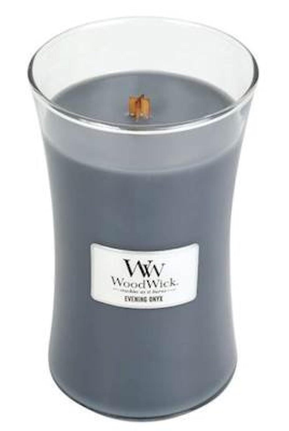 かなり原子名門イブニングオニキスWoodWick 22 oz Large砂時計Jar Candle Burns 180時間