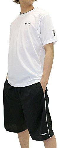 SPALDING(スポルディング) ランニングウェア 上下セット セットアップ ドライ スポーツシャツ ジャージ ショートパンツ セット メンズ ホワイト L