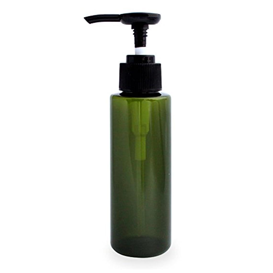 ポンプボトル100ml(グリーン)(プラスチック容器 オイル用空瓶 プラスチック製-PET 空ボトル プッシュポンプ)
