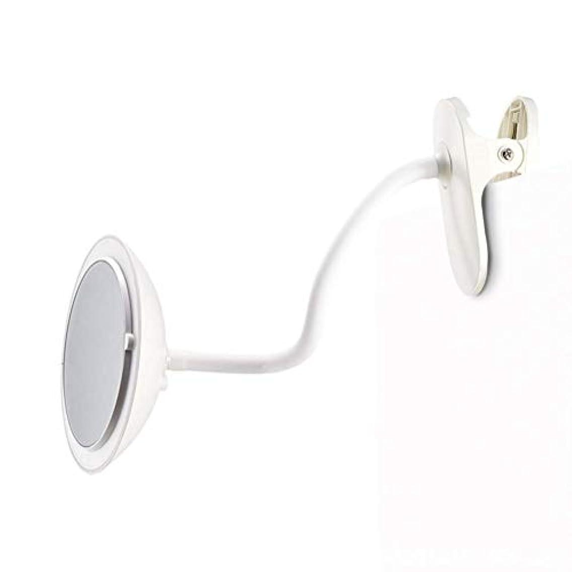 仲介者怪しいなんでもクリップタイプLED化粧鏡付き5倍ミラー調整可能な柔軟なグースネック360°回転3つの明るさ調整両面化粧鏡ホワイト