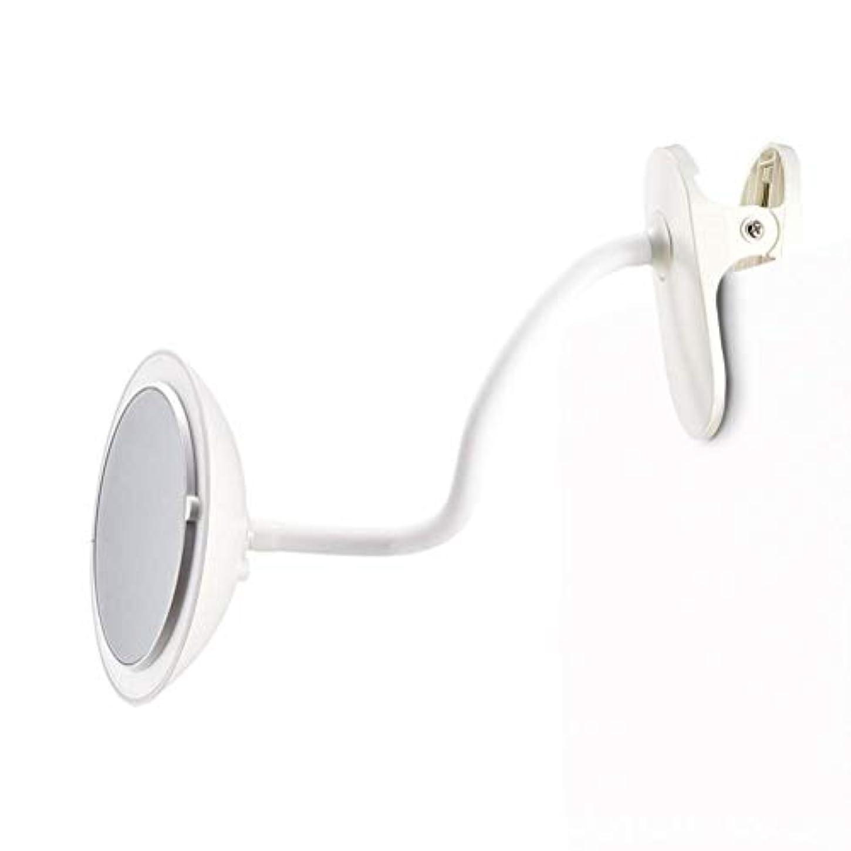 手がかり研究所列車クリップタイプLED化粧鏡付き5倍ミラー調整可能な柔軟なグースネック360°回転3つの明るさ調整両面化粧鏡ホワイト