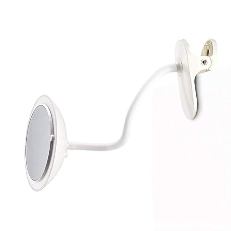 コーヒー十分です区別するクリップタイプLED化粧鏡付き5倍ミラー調整可能な柔軟なグースネック360°回転3つの明るさ調整両面化粧鏡ホワイト