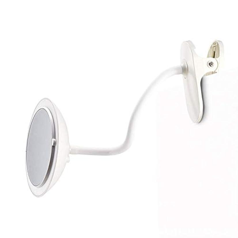 もろいパーチナシティ指導するクリップタイプLED化粧鏡付き5倍ミラー調整可能な柔軟なグースネック360°回転3つの明るさ調整両面化粧鏡ホワイト