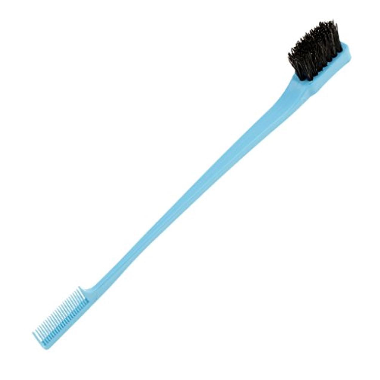 フリース叫ぶ二週間Blesiya ヘアブラシ ヘアコーム 両端使え 櫛 プラスチック製 ひげ口髭 ラインひげ整え ヘアースタイリング エッジ削り 便利 7インチ 4色選べる - 青