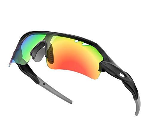DeliToo スポーツサングラス 偏光レンズ 5枚レンズセット 多層構造 UV400 紫外線カット 度入りフレーム付き