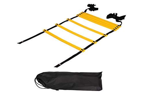 Sutekus ラダー トレーニング 野球 サッカー 7メートル プレート 13枚 収納袋付き 「 連結可能 スピードラダー 」「 瞬発力 敏捷性 アップ 」「 フットサル テニス 練習 」 トレーニングラダー (イェロー)