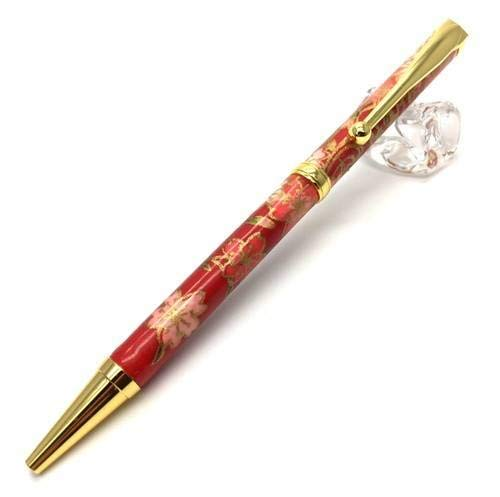 日本製 職人さん手作り 美濃和紙ボールペン 伝統工芸 しだれ桜 red TM-1602