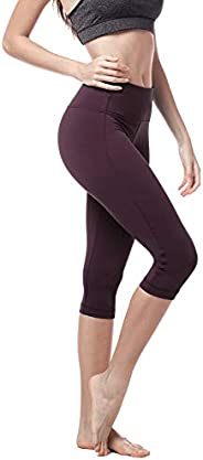 LAPASA Women's Yoga Capri Pants Running Yoga Pants Wide Waistband Sports Pants Hidden Pocket