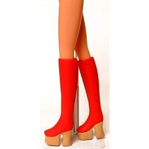 キューティーズ 1/6 厚底ブーツ・太さノーマル(赤+靴底ベージュ) DW-63013