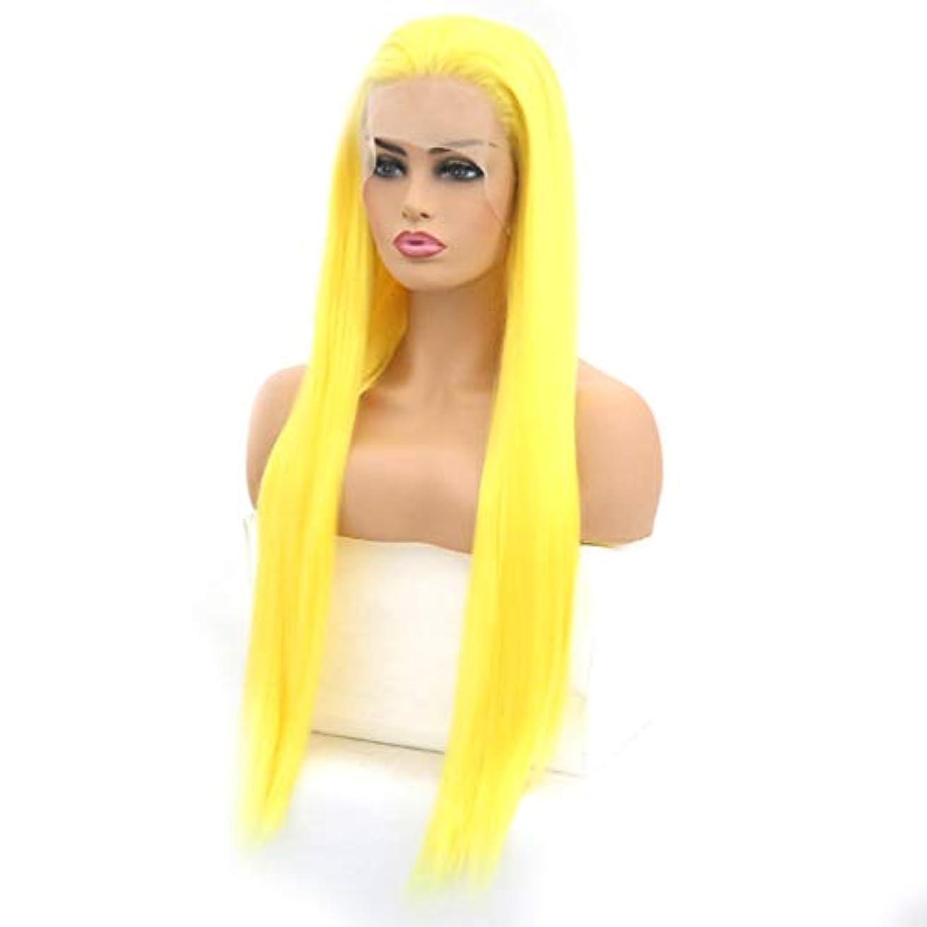 Kerwinner 女性のためのレースフロントかつらサイド部分ロングナチュラルストレート耐熱人工毛ウィッグ (Size : 18inch)