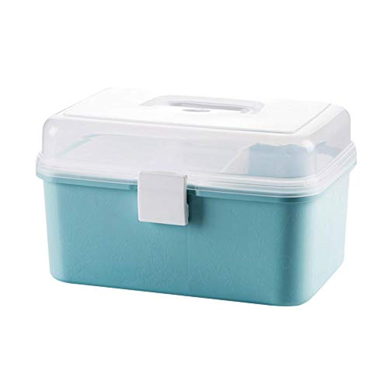 お世話になったに対処する祈るZHILIAN& 二重薬キャビネット/応急処置キットポータブル薬収納ボックス家庭用多機能ツールボックス収納ボックス25×16×16センチ (Color : Blue)