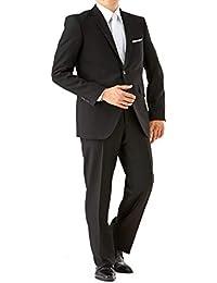 【大きいサイズ】(ノワールシック) Noirchic オールシーズン 2つボタン シングルフォーマル アジャスター付 メンズ ブラックスーツ 喪服 礼服