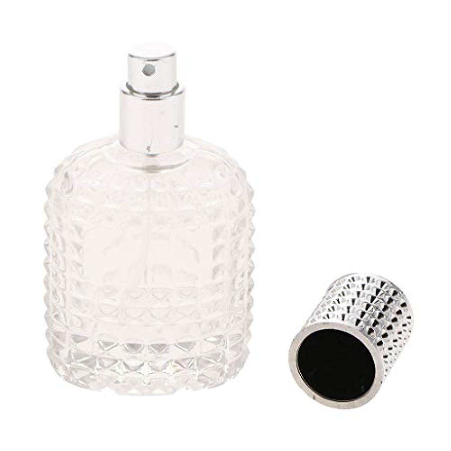 パネルその放棄空 ガラス 香水瓶 スプレー香水ボトル 美しいパイナップルデザイン 詰め替え可能 再利用可能 全4種 - シルバー50ml