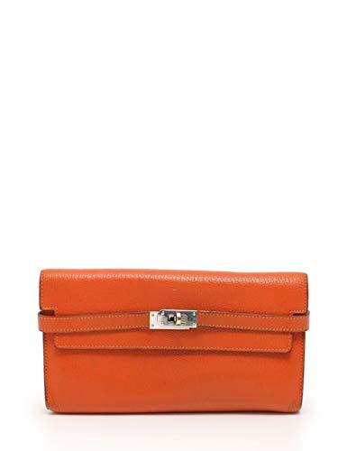 [エルメス]HERMES ケリーウォレット 二つ折り長財布 シェーブル オレンジ □P刻印 シルバー金具 中古