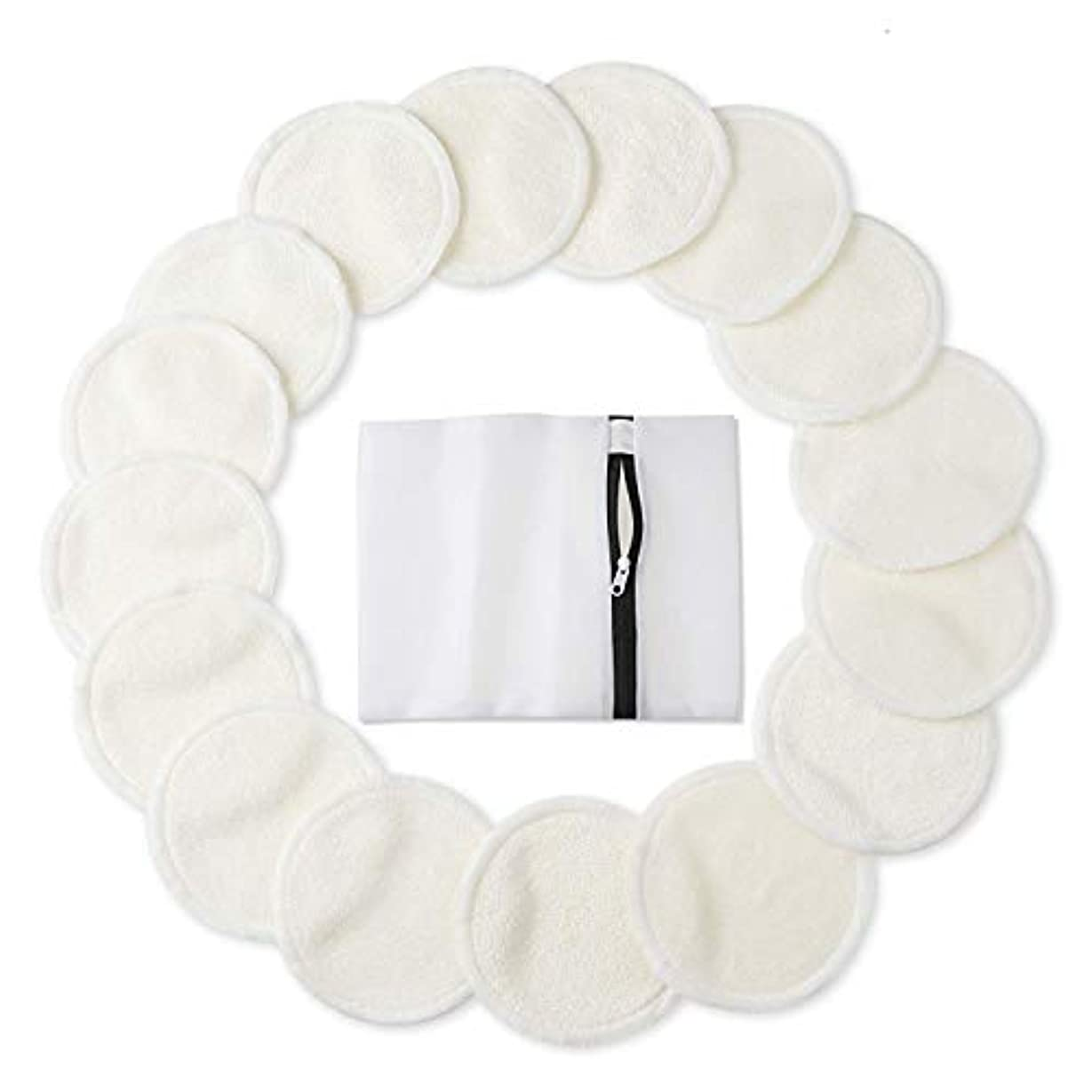 パンダ批判お風呂を持っているPhogary 竹 メイクアップリムーバーパッドアイメイク削除顔用ランドリーバッグ洗える洗顔布で再利用可能な有機竹コットンラウンドワイプ3.15 2層