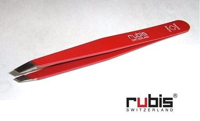 スプリット野生不規則なルビス(スイス) ツイザー95mm(先斜)スイスクロス赤