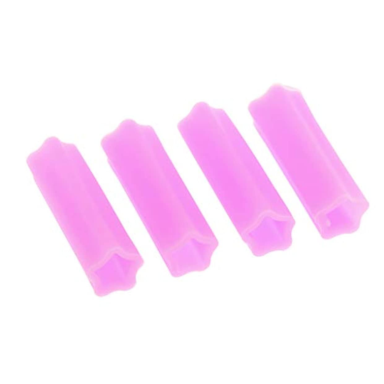 管理プラカード在庫4個入り シリコン キューティクルニッパー ケース ニッパーキャップ ネイルニッパー キャップ 柔軟 耐久性 - 紫の
