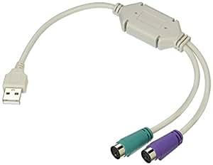 変換名人 PS/2接続キーボードとマウス → USB 変換アダプタ 日本語/英語キーボード用 USB-PS2