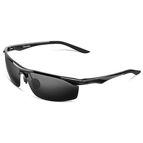 Glazata 偏光レンズ スポーツサングラス メンズ UV400 紫外線カット 超軽量 アルミニウム・マグネシウム合金 スポーツサングラス ドライブ /野球 / 自転車/ 釣り/ランニング/ゴルフ/運転 (黒)