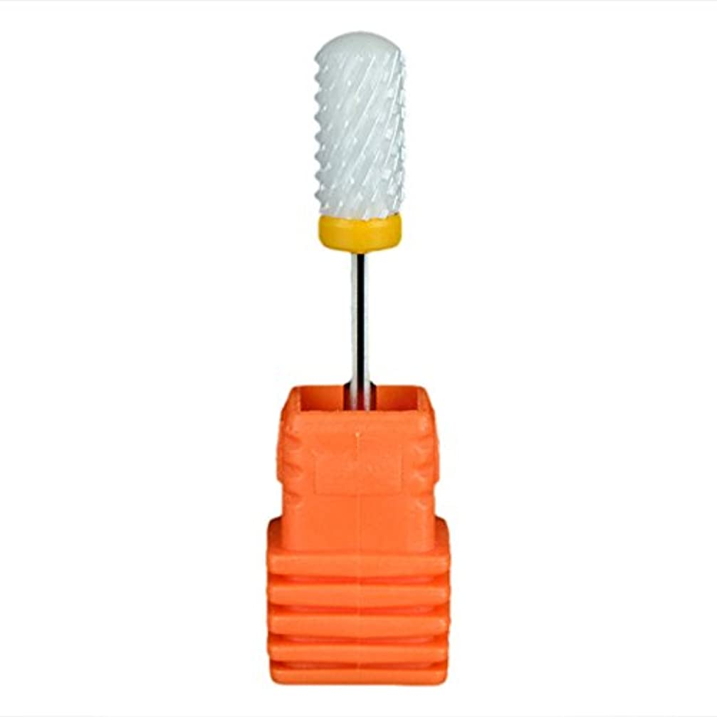 かび臭い誇大妄想オッズSemoic ネイルセラミックドリルビット 回転ジェルネイルサロンツール 3/32インチのマニキュア ホワイト+オレンジ色