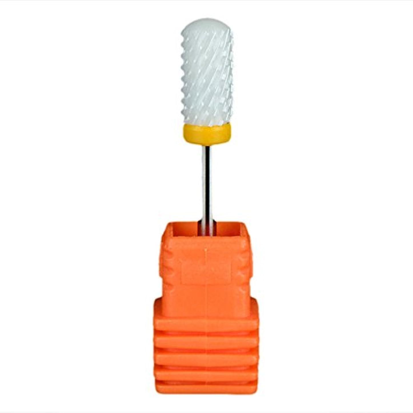 頼む前方へ喜ぶSemoic ネイルセラミックドリルビット 回転ジェルネイルサロンツール 3/32インチのマニキュア ホワイト+オレンジ色