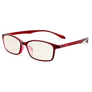 エッシェンバッハ 老眼鏡 ブルーライトカット 中近両用 +1.5 +0.5 度数 PCビュアー 弾性フレーム 日本製 クリアレッド 2993-1215