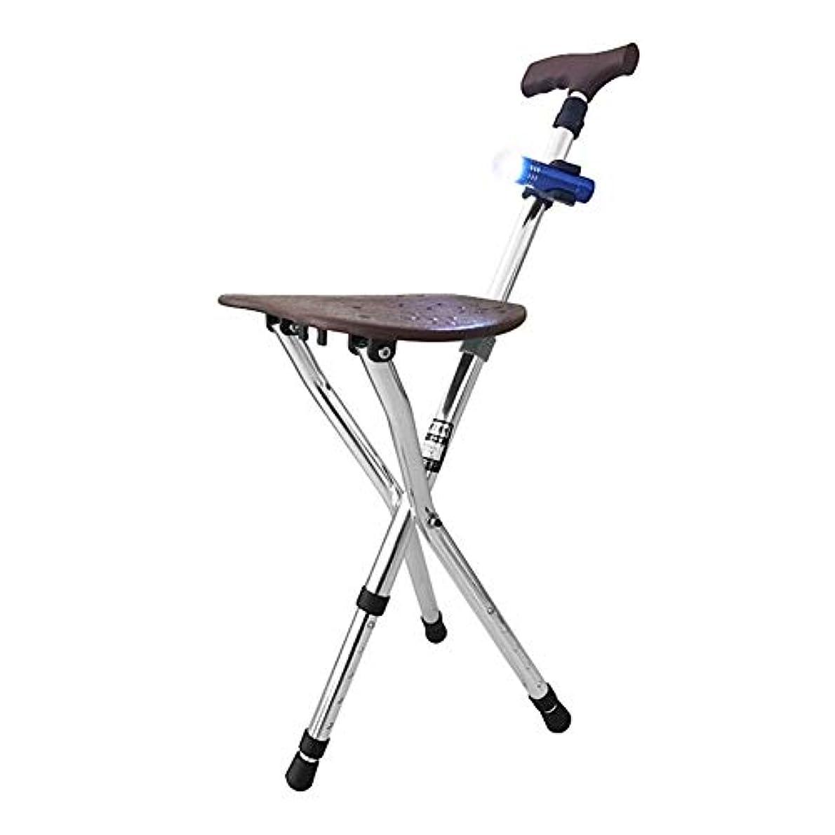 ミシン目ガソリン憧れデザインステッキ アルミ三脚チェア キャンプ用品 椅子 広げれば椅子に 畳めば頑丈な3本脚のステッキに 折り畳み式 杖が に大変身 小さくたためる 歩く時は杖として 疲れたら
