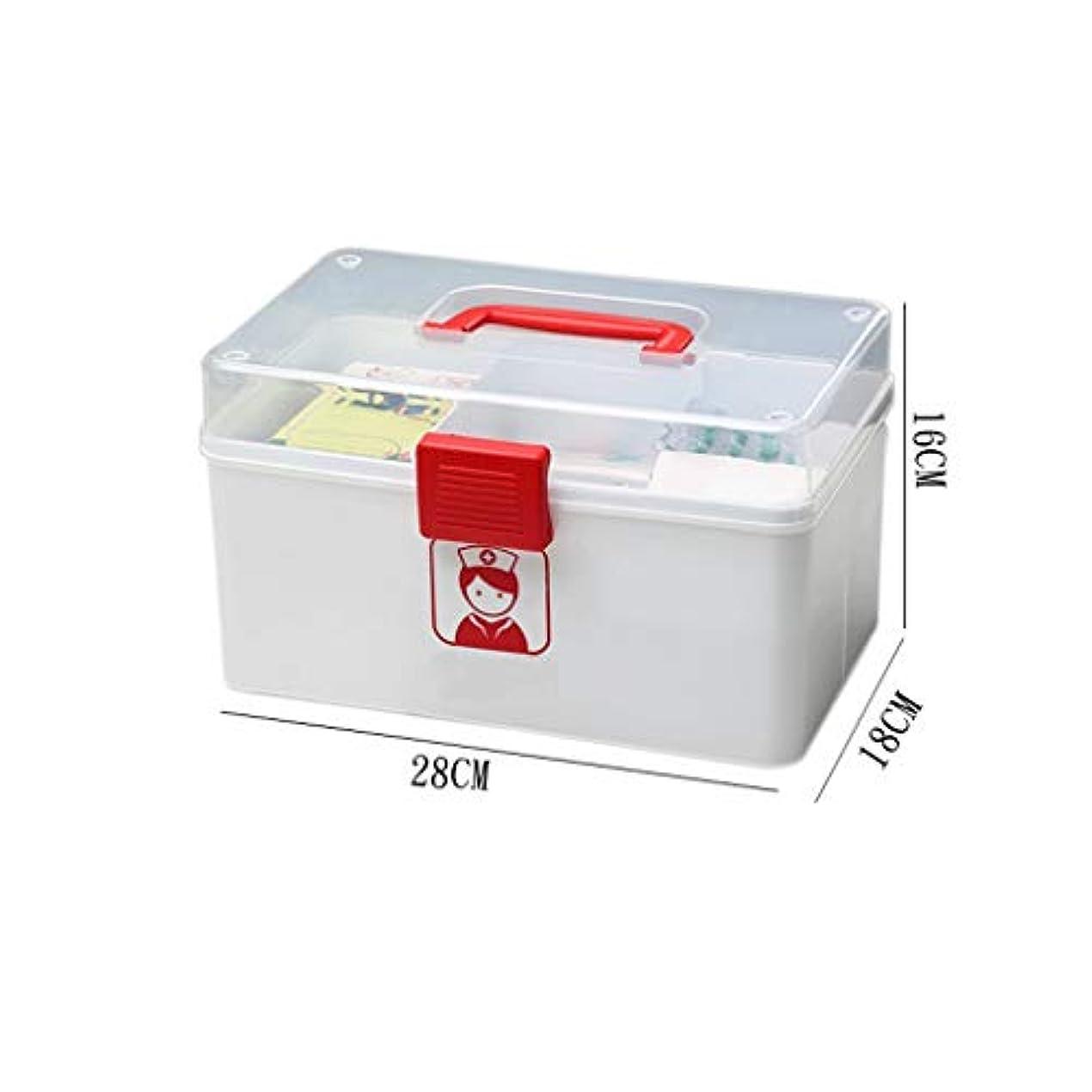行く称賛プライムWXYXG 家庭用薬箱こども応急処置キット薬収納ボックスプラスチック携帯用薬箱 (Color : White, Size : 28cm×18cm×16cm)