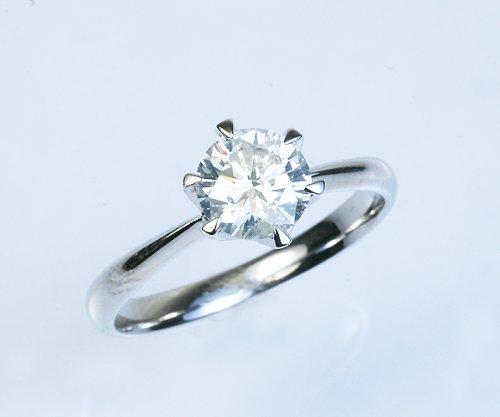 【KASHIMA】プラチナ900 大粒0.9ct ダイヤモンド 一粒石 立爪 リング