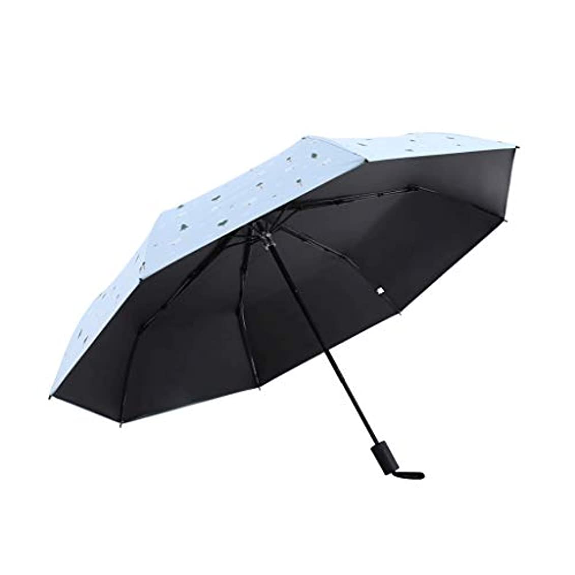 結晶偏心証明日傘防水ブラックダブルUV日傘超軽量雨兼用傘日焼け止めゼロライト折りたたみ傘 (色 : 青)