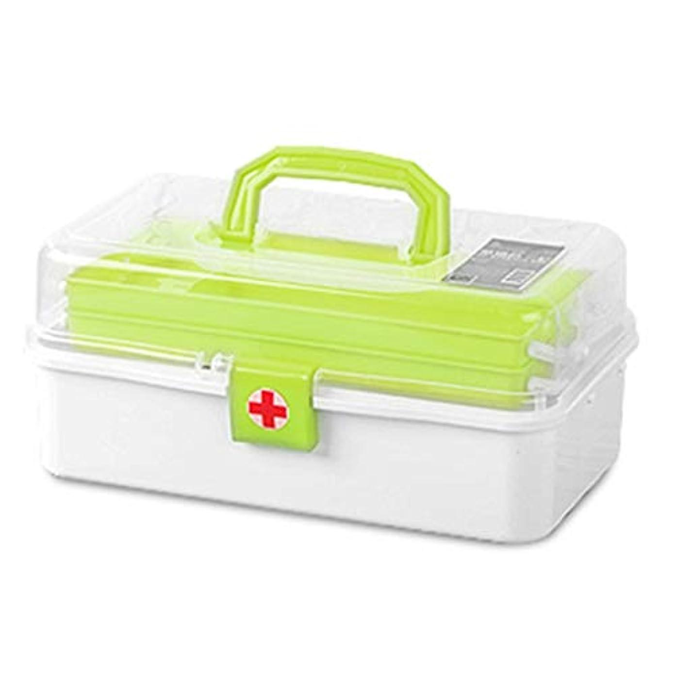医療用キット 多層大容量救急箱ポータブル薬収納ボックス/グリーン、ピンク/ 33 x 17 x 14.8 cm QDDSP (Color : Green)