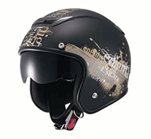 ナンカイ(NANKAI) ZEUS エニグマ ジェットヘルメット(インナーバイザー装備) マットブラック/ゴールド フリー NAZ205MBGD