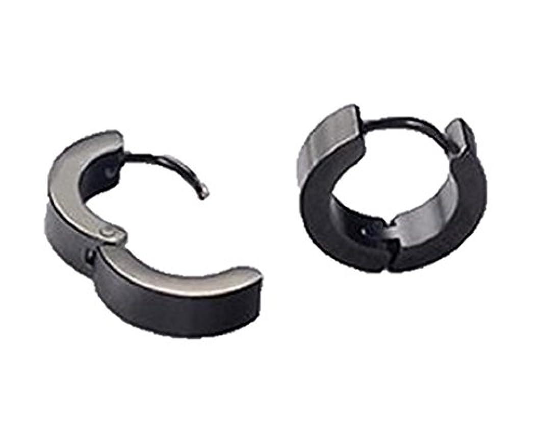 受信機赤外線証言する【ノーブランド品】 サージカル ステンレス 製 両耳 フープ ピアス リング ユニセックス (ステンレス ブラック12mm)