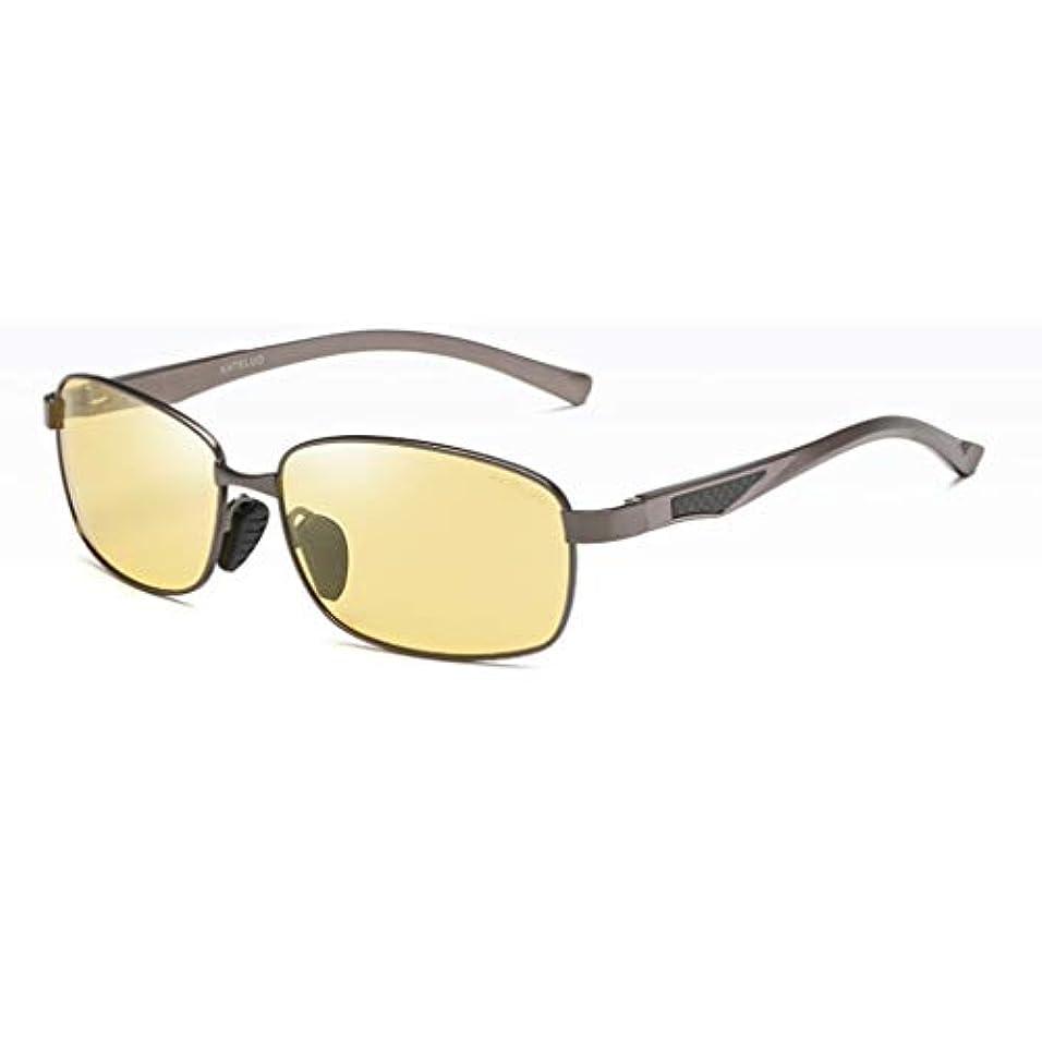 発動機困難虐殺ナイトドライビングメガネメンズHDナイトビジョンメガネは防眩偏光を駆動しますクラシック長方形フレーム防眩UV保護屋外/運転/釣り運転サングラス