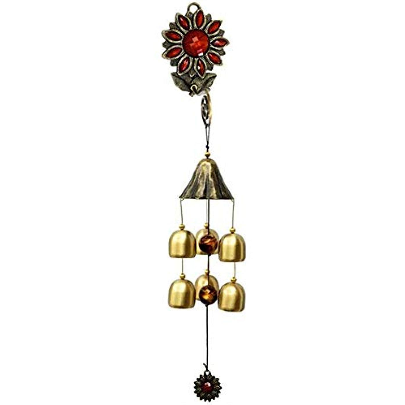 湿気の多いオーナー変装したJielongtongxun 風チャイム、ガーデンメタルクリエイティブひまわり風の鐘、グリーン、全長約35CM,絶妙な飾り (Color : Red)