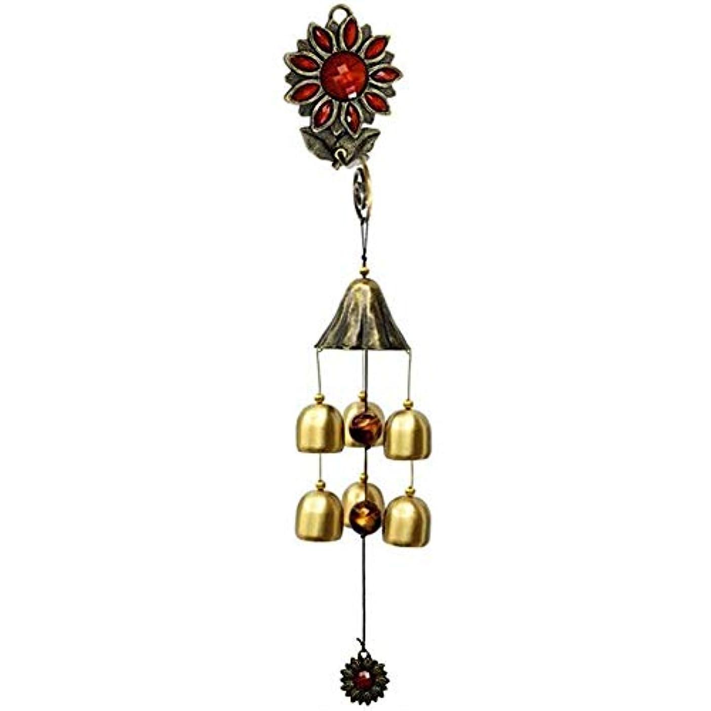 光のスキル砂利Jielongtongxun 風チャイム、ガーデンメタルクリエイティブひまわり風の鐘、グリーン、全長約35CM,絶妙な飾り (Color : Red)